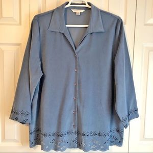 August Max Women's Blue Faux Suede Blouse Size 2X